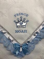 Romany Spanish Baby Boys' Personalised Embroidered Frilly Shawl Keepsake Gift