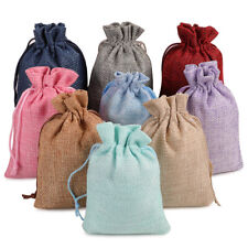 25/50/100 Burlap Bags Linen Jewelry Pouches Jute Hessian Gift Bag Wedding Favor