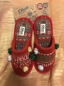 """Dearfoams Holiday Christmas """"Get Ugly"""" Ugly Sweater Slippers Sz"""