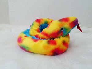 "50"" Rainbow Tie Dye Plush Snake, Boa, Jungle Aurora"