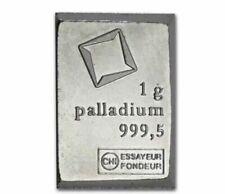1 GRAM VALCAMBI .9995 FINE PALLADIUM BULLION BAR FROM NEW SHEET OF 50
