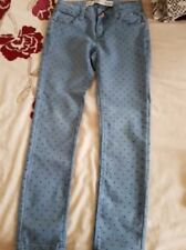 Girls blue stretch jeans with heart detail age 9-10
