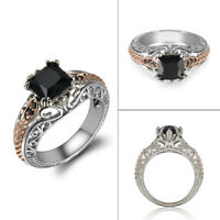Fashion Women 925 Silver Black Sapphire Hollow Wedding Ring Jewelry Size 6-10