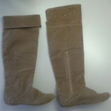 Miss Me Pisa Faux Suede Over the Knee Flat Boots Antique Gold Studs Sz 9