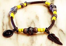 tribal beaded charm elasticised bracelet