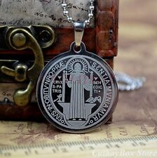 Stainless Steel Patron Saint St.Benedict Holy Medal Pendant Necklace Gift L 50CM