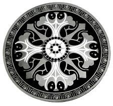 Celtic Round Belt Buckle Star / Shield Black & White Authentic Dragon Designs