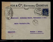 Switzerland  censor cover to Argentina  WW1        MS0922