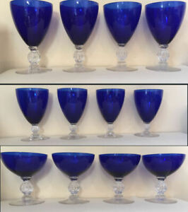 Vtge Set of 4 Cobalt Blue and Clear Glassware - Wine, Champagne & Goblets