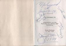 Muhammad Ali & Jimmy Ellis Autogramme signed 10x15 cm Menükarte 1979