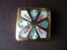 Vintage Brass & Abalone Pill Box