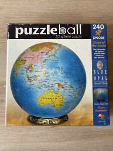 Blue Opal Jigsaw 3D Puzzle Ball 15cm Globe of the World 240 Piece Aus Seller