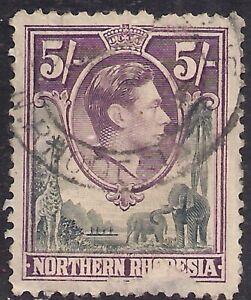 Northern Rhodesia 1938 - 52 KGV1  5/-d Grey Violet SG 43 Space Filler ( H1086 )