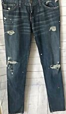 Current/Elliot Women's Size 28 Dark Wash With Distress And Paint Splatters