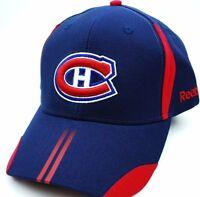 Montreal Canadiens Habs Reebok NHL Hockey Striped Bill Adjustable Cap Hat