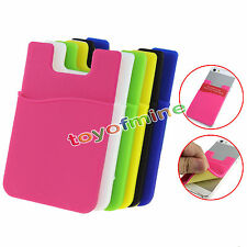 Silicone Wallet Credit Card Sticker Adhesive Holder Case for iPhone Samsung
