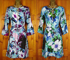 NEW EXCHAINSTORE LADIES PURPLE BLUE GREEN PINK FLORAL 3/4 SLEEVE TUNIC DRESS