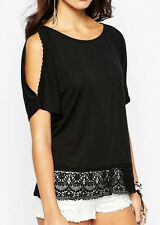 Top linen blend with cotton crochet embroidered trim by New Look