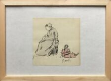 Raymond RENEFER 1979-1957.Femme et enfant.1908.Crayon et quarelle.SBD.14x14.Cadr