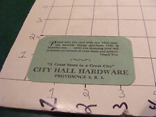 vintage paper: CHARGE ACCOUNT CARD - city hall hardware Rhode Island