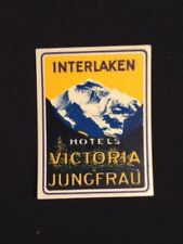 c1920's Luggage Label, Switzerland Interlaken Hotels Victoria, Jungfrau