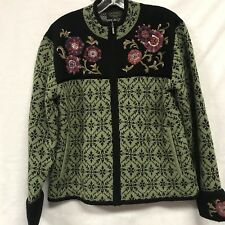 Icelandic Design Sweater Womens Lined Jacket Nordic Green Black Large a1