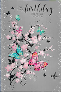 """OPEN FEMALE BIRTHDAY GREETING CARD 7""""X5"""" SILVER BACKED WITH BUTTERFLIES FREE P&P"""