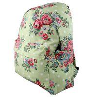Ladies Floral Flower Canvas Backpack Rucksack School Travel Laptop Bag Green