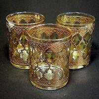 3 (Three) VTG CULVER GLASS VALENCIA 13oz Double Old Fashion Glasses 24K Trim