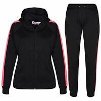 Kids Girls Jogging Suit Plain Fleece Hooded Hoodie Bottom Tracksuit Joggers 5-13
