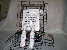 E-Z Catch Lot of Two 4-Door Bottom Loading Crab Pots / Traps Low Profile w/ Rope