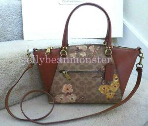 COACH 67164 PRAIRIE FLORAL CANVAS SIGNATURE SATCHEL Crossbody Bag Tan Rust Bow