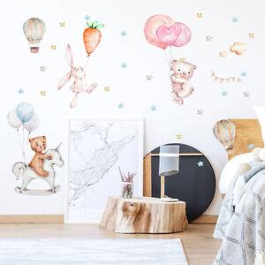 Cartoon Bear Rabbit Clouds Wall Sticker Baby Nursery Room Art Decal DIY Gift