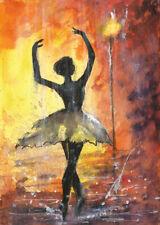 ACEO Rain ballerina dancer night light landscape original painting art card sign