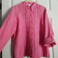 JM Collection Size 12 Pink Linen Tunic Shirt Pleated Front Roll Tab Sleeve