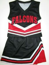 "Small Child FALCONS Cheerleader Uniform Youth XS Black Red 22"" Top Elastic Skirt"