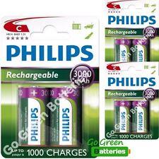 6 x Philips C tamaño C 3000 Mah Recargables LR14 Hr14 Baby Nimh
