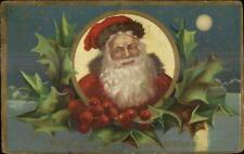 Christmas - Santa Claus Close-Up of Face Holly Border 1909 Used Postcard