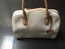 NWT Authentic White Michael Kors Large Signature Embossed Satchel Handbag