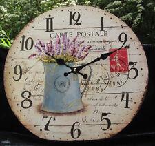 # M04- Wanduhr Uhr Landhausuhr Lavendel Frankreich Provence Postkartenstil Kanne