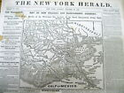1861 CIVIL WAR newspaper w LARGE detailed front page MAP o NEW ORLEANS Louisiana