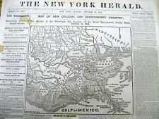 <1861 CIVIL WAR newspaper w LARGE MAP NEW ORLEANS aft CONFEDERATE NAVAL VICTORY