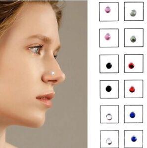UK Women Men Steel Magnetic Fake Crystal Nose Stud Earring Ring Lip Clip Ear x12