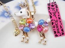 Betsey Johnson lovely gem Rhinestone Poodle Pendant Necklace #H