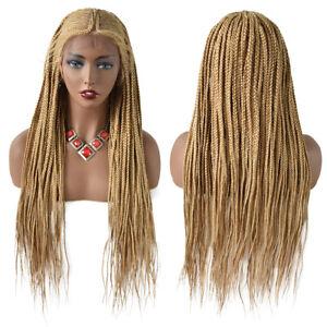"Micro Cornrow Box Braids Women Wigs Baby Hair Swiss Lace Front Lightweight 30"""