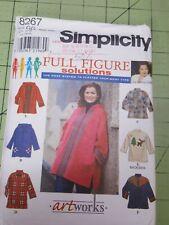Simplicity Pattern 8267 Womens Art Works Creative Jackets Sizes 26W~32W UNCUT