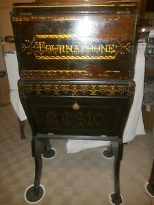 ANTIQUE TOURNAPHONE PAPER ROLLER ORGANETTE W STAND BEAUTIFUL CONDITION * RARE