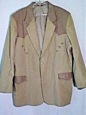 VTG Pioneer Wear Mens 52L Tan Corduroy Western 2 Btn Jacket w/Leather Trim USA