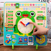Kids Wooden Frog Clock Calendar Date Weather Board Learning Educational Toys ❤