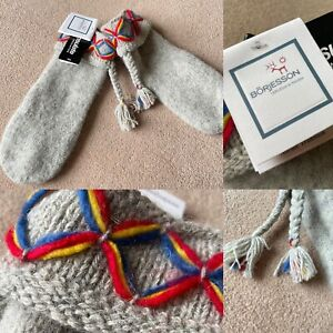 BNWT BORJESSON Light Grey NORDIC Traditional 85% SHETLAND WOOL Winter Gloves XL